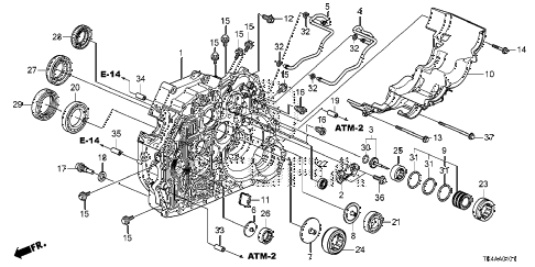 2013 TL ADV(SHAWD) 4 DOOR 6AT AT TORQUE CONVERTER CASE (4WD) diagram