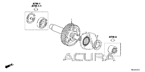 2013 TL ADV(SHAWD) 4 DOOR 6AT AT IDLE SHAFT diagram