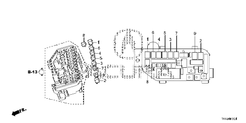 2013 TL ADV 4 DOOR 6AT CONTROL UNIT (ENGINE ROOM) (2) diagram