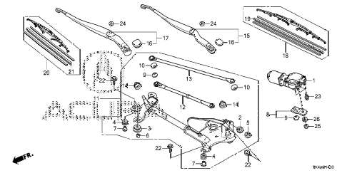 2013 TL ADV(SHAWD) 4 DOOR 6AT FRONT WINDSHIELD WIPER diagram