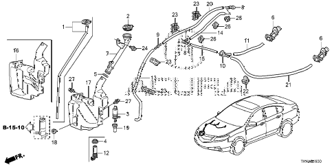 2013 TL ADV(SHAWD) 4 DOOR 6AT WINDSHIELD WASHER diagram