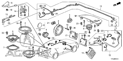 2013 TL ADV(SHAWD) 4 DOOR 6AT RADIO ANTENNA - SPEAKER diagram