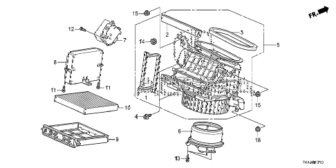 2013 TL ADV(SHAWD) 4 DOOR 6AT HEATER BLOWER diagram