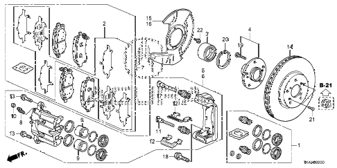 2013 TL ADV 4 DOOR 6AT FRONT BRAKE diagram