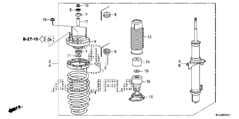2013 TL ADV(SHAWD) 4 DOOR 6AT FRONT SHOCK ABSORBER diagram