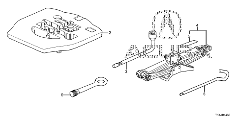2013 TL ADV(SHAWD) 4 DOOR 6AT TOOLS - JACK diagram