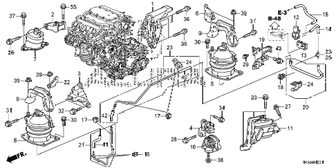 2013 TL ADV 4 DOOR 6AT ENGINE MOUNTS (2WD) (AT) diagram