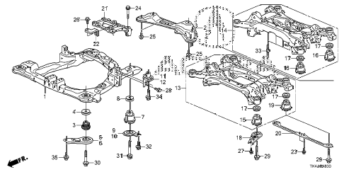 2013 TL ADV(SHAWD) 4 DOOR 6AT FRONT SUB FRAME - REAR BEAM diagram