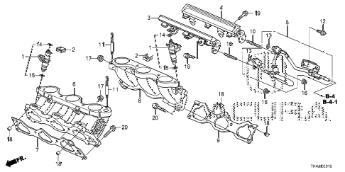 2013 TL ADV(SHAWD) 4 DOOR 6AT FUEL INJECTOR diagram