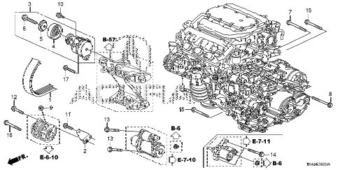 2013 TL ADV(SHAWD) 4 DOOR 6AT ALTERNATOR BRACKET  - TENSIONER diagram