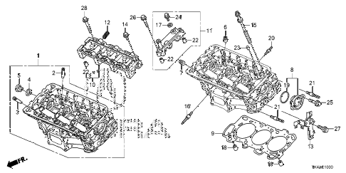2013 TL ADV(SHAWD) 4 DOOR 6AT FRONT CYLINDER HEAD diagram