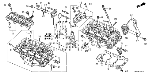 2013 TL ADV(SHAWD) 4 DOOR 6AT REAR CYLINDER HEAD diagram