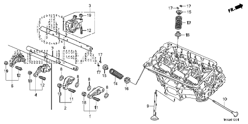2013 TL ADV(SHAWD) 4 DOOR 6AT VALVE - ROCKER ARM (RR.) diagram