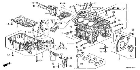 2013 TL ADV(SHAWD) 4 DOOR 6AT CYLINDER BLOCK - OIL PAN diagram