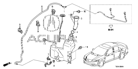 2009 TSX(TECH) 4 DOOR 5AT WINDSHIELD WASHER (KA) diagram