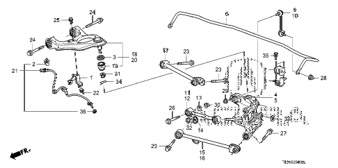 2012 TSX SE 4 DOOR 6MT REAR LOWER ARM diagram