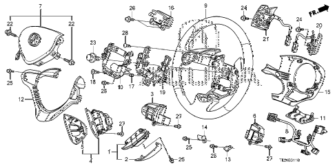 2009 TSX(TECH) 4 DOOR 5AT STEERING WHEEL (SRS) diagram