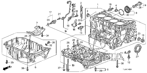 2010 TSX 4 DOOR 5AT CYLINDER BLOCK - OIL PAN diagram