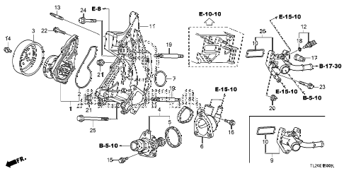 2011 TSX TECH 4 DOOR 6MT WATER PUMP diagram