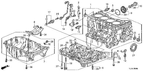 2014 TSX SE 4 DOOR 6MT CYLINDER BLOCK - OIL PAN (L4) diagram