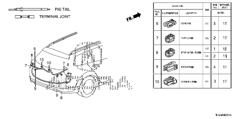 2013 TSX 5 DOOR 5AT ELECTRICAL CONNECTOR (RR.) diagram