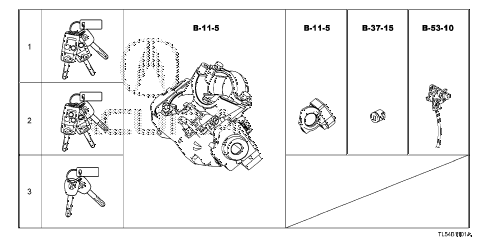 2013 TSX 5 DOOR 5AT KEY CYLINDER SET diagram