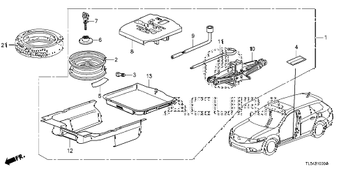 2013 TSX 5 DOOR 5AT SPARE TIRE WHEEL KIT diagram