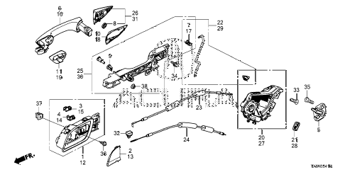 2013 ILX PRE2.4 4 DOOR 6MT REAR DOOR LOCKS - OUTER HANDLE diagram