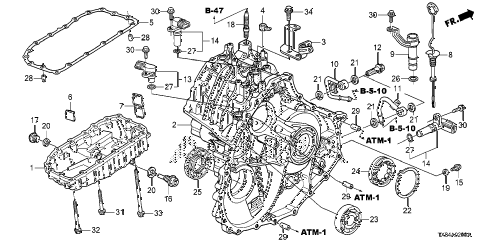 2013 ILX BASE 4 DOOR CVT AT TRANSMISSION CASE diagram