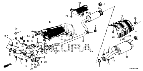 2014 ILX BASE 4 DOOR CVT EXHAUST PIPE - MUFFLER diagram