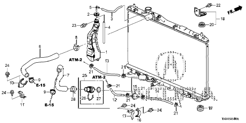 2014 ILX BASE 4 DOOR CVT RADIATOR HOSE - RESERVE TANK diagram