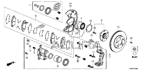 2014 ILX TECH 4 DOOR CVT FRONT BRAKE diagram