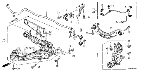 2014 ILX BASE 4 DOOR CVT REAR LOWER ARM diagram