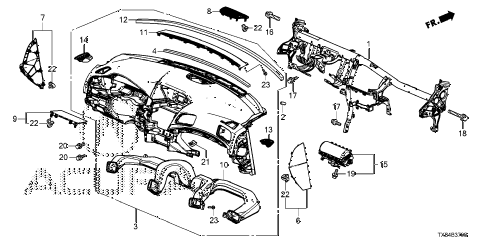 2014 ILX TECH 4 DOOR CVT INSTRUMENT PANEL diagram