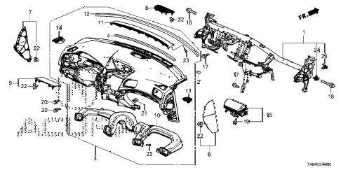 2013 ILX TECH 4 DOOR CVT INSTRUMENT PANEL diagram
