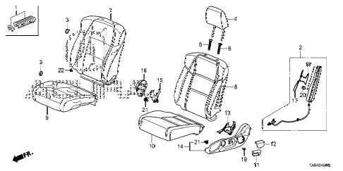 2014 ILX BASE 4 DOOR CVT FRONT SEAT (L.) diagram