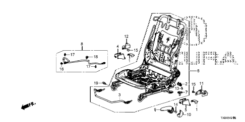 2013 ILX BASE 4 DOOR CVT FRONT SEAT COMPONENTS (L.) diagram
