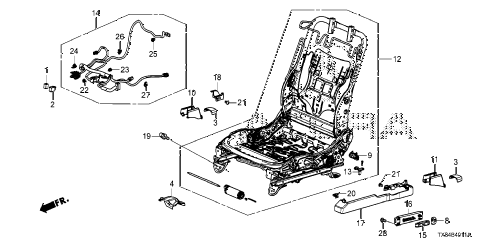 2013 ILX TECH 4 DOOR CVT FRONT SEAT COMPONENTS (L.) (POWER SEAT) diagram