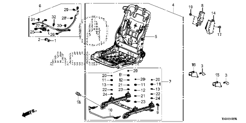 2014 ILX BASE 4 DOOR CVT FRONT SEAT COMPONENTS (R.) diagram