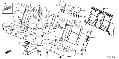2013 ILX BASE 4 DOOR CVT REAR SEAT diagram