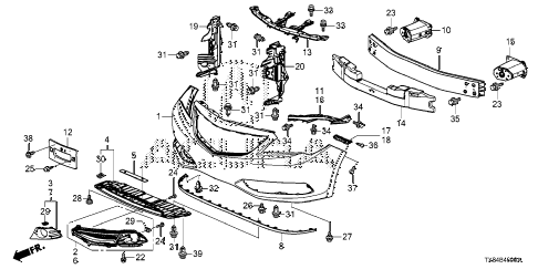 2013 ILX BASE 4 DOOR CVT FRONT BUMPER diagram