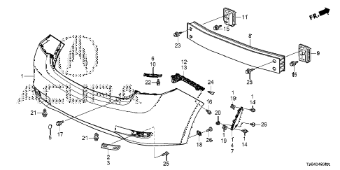 2013 ILX TECH 4 DOOR CVT REAR BUMPER diagram
