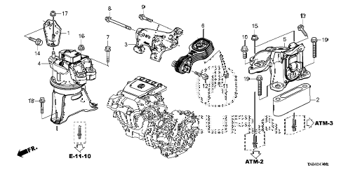 2014 ILX TECH 4 DOOR CVT ENGINE MOUNTS diagram