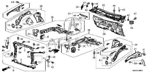 2013 ILX TECH 4 DOOR CVT FRONT BULKHEAD - DASHBOARD diagram