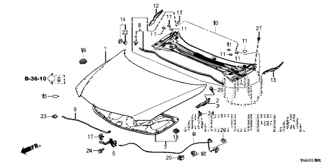 2014 ILX BASE 4 DOOR CVT ENGINE HOOD diagram