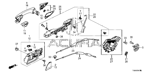 2014 ILX BASE 4 DOOR CVT REAR DOOR LOCKS - OUTER HANDLE diagram