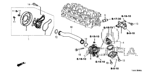 2014 ILX TECH 4 DOOR CVT WATER PUMP diagram