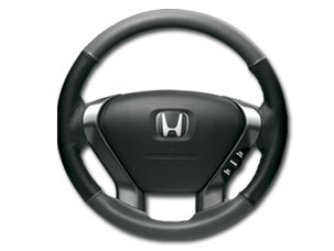 BLACK LEATHER STEERING-WHEEL COVER (part number:)