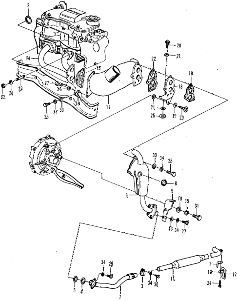 1970 n600 ** 2 DOOR 4MT EXHAUST SYSTEM - HEAT EXCHANGER (2) diagram