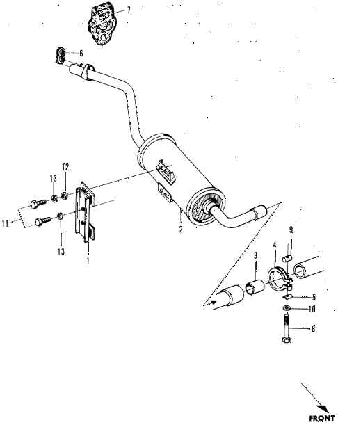 1972 n600 ** 2 DOOR 4MT EXHAUST MUFFLER diagram